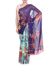 Printed Light And Dark Blue Georgette Saree - By