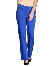 Blue Cotton And Satin Solid Regular Fit Slim Fit Trousers - By