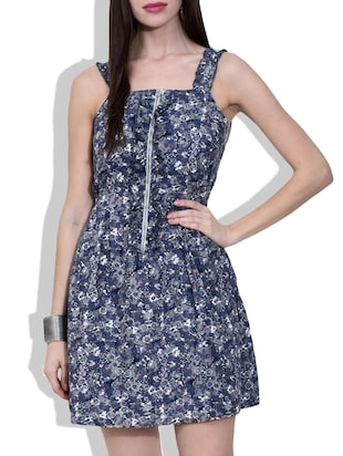 charcoal grey printed zippered cotton dress