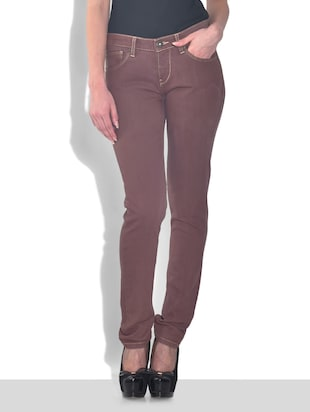 Brown Cotton Stretchable Skinny Fit Jeans