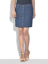 Blue Cotton Denim Button-Up Skirt - By