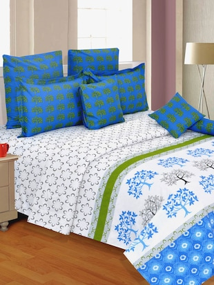 White Cotton Printed Double Bed sheet Set