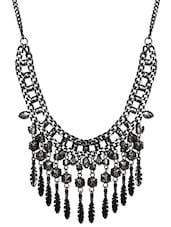 Black And Silver Feather Drop Statement Necklace - By