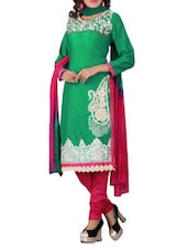 Green Cotton Embroidered Unstitched Suit Set - By