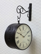 Black Victoria Station Double Sided Clock - Medieval India