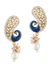 Blue  Meenakari Pearl Drop Earrings - By