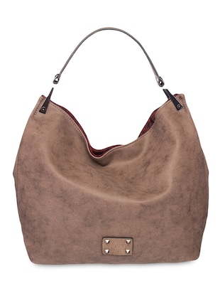Brown Distressed Leatherette Hobo Bag