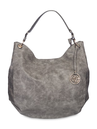 Grey Distressed Leatherette Hobo Bag