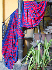 Red And Blue Printed Saree - Titli