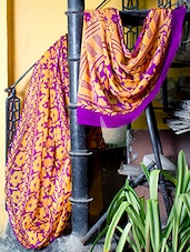 Yellow And Purple Floral Print Saree - Titli