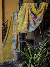 Yellow Floral Print Saree - Titli