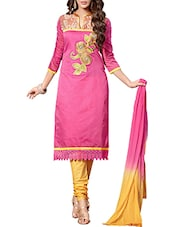 Pink Cotton Embroidered Salwar Suit Set - By