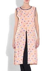Peach Polyester Printed Long Top - By