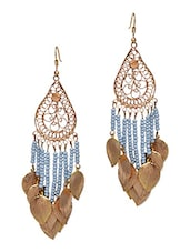 Gold And Blue Drop Earrings - By