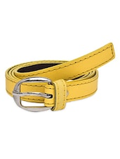 Solid Yellow Faux Leather Belt - By