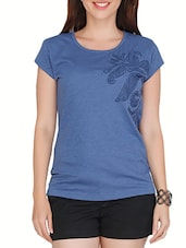 Blue Cotton Printed Short Sleeved Top - By