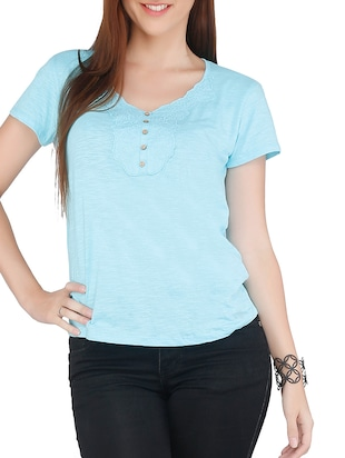 Blue Cotton Embroidered Three Quarter Sleeved Top