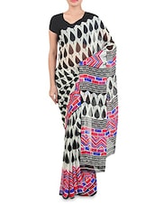 Black And White Chiffon Printed Saree - By