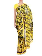 Yellow And Black Chiffon Printed Saree - By