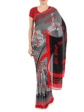 Grey And Red Faux Georgette Printed Saree - By