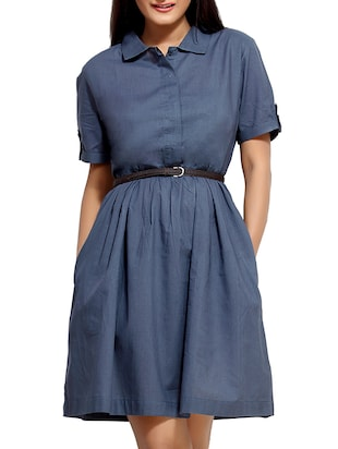 Blue Cotton  Short Sleeves Belted Dress
