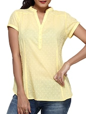 Pale Yellow Cotton Top With Mandarin Collar - By