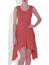Coral Red Sleeveless Asymmetrical Polyester Dress - By