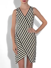 Cream And Black Striped Poly Crepe Asymmetrical Dress - By