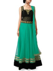 Embroidered Teal And Black Net Ankle Length Anarkali Suit Set - By