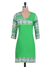 Green Printed Cotton Kurta With Overlapping Bodice - By
