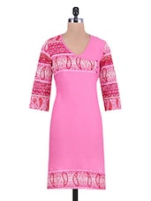 Pink Printed Cotton Kurta With Overlapping Bodice - By