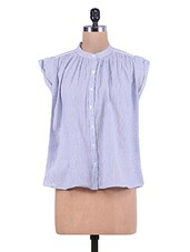 Blue Pin-Striped Cotton Smock Shirt - By
