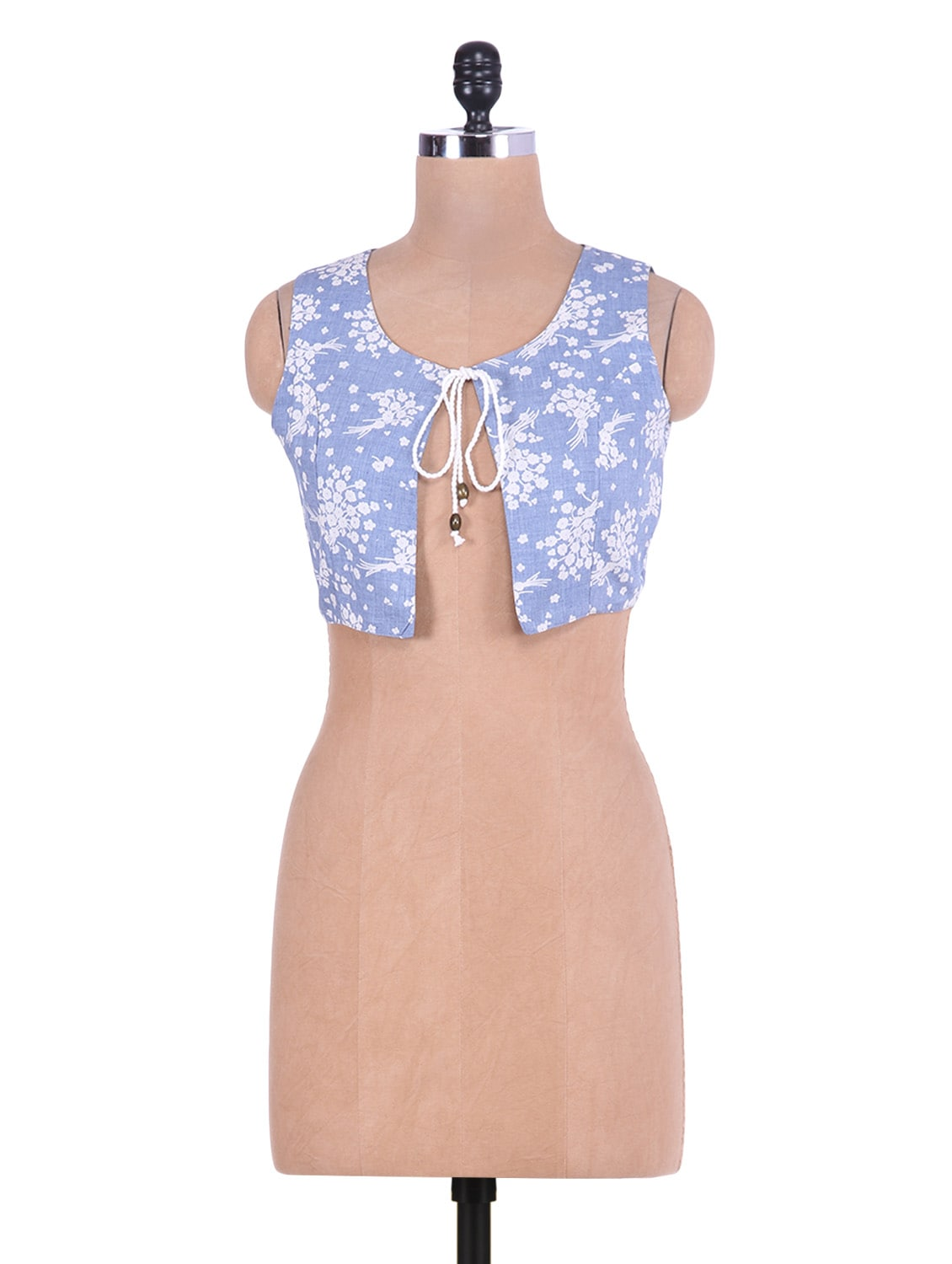 Light Blue Floral Printed Cotton Sleeveless Shrug - By