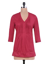 Maroon Cotton Pin Tuck Detail Tunic - By