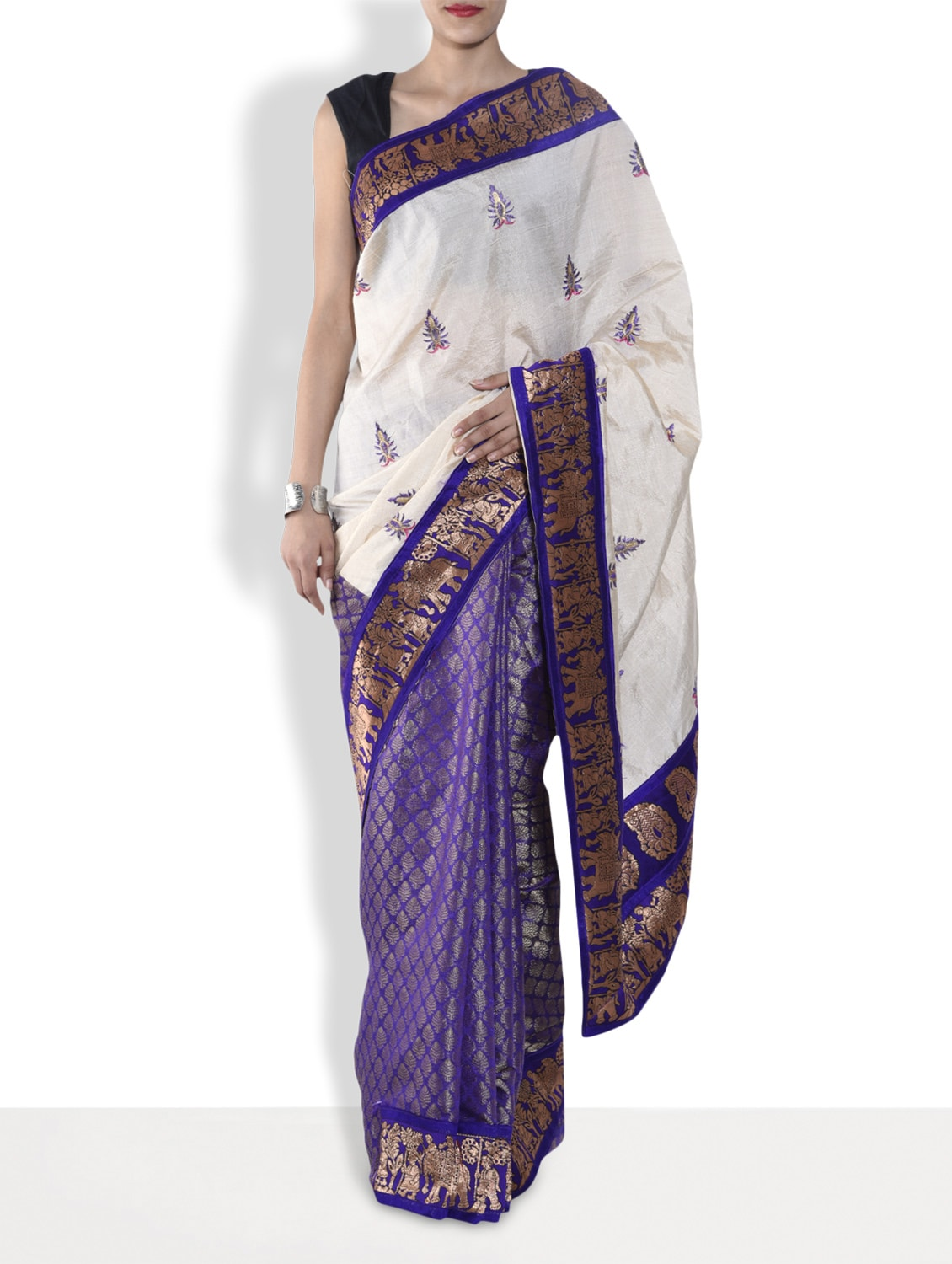 Purple Embroidered Half And Half Silk Saree - By