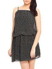 Black White Polka Dotted Spagetti Dress - By