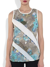 White Polyester Floral Printed Sleeveless Top - By