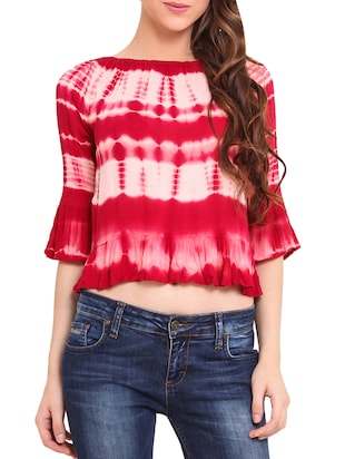 Red and White Tie-dye Crop Top -  online shopping for Tops
