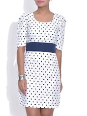 White Polka Dot Printed Sheath Dress - By