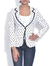 White Polka Dot Printed Blazer - By