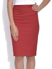 Red Cotton Pencil Skirt - By