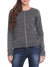 Grey Naps Fleece  Long Sleeved Jacket - By