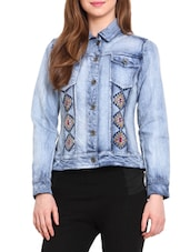 Blue Denim Embroidered Long Sleeved Jacket - By