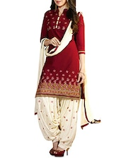 Red And Cream Unstitched Suit Set - By