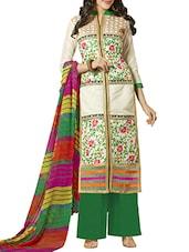 Cream Color Designer Embroidered Chanderi Cotton Un-Stitched Dress Material-F365DL2003VO - By