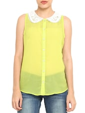 Lime Green Poly Georgette Peter Pan Collar Top - By