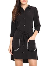 Black Poly Crepe Shirt Dress With Fabric Belt - By