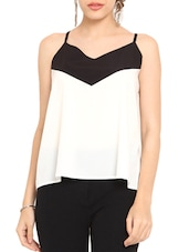 White And Black Poly Crepe Camisole Top - By