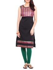 Black Polyester Printed Kurti - By