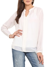 Solid White Notch Neck Polyester Top - By
